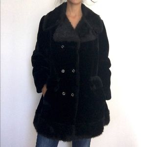 BEAUTYYY Faux fur Black pea collar coat jacket M/L